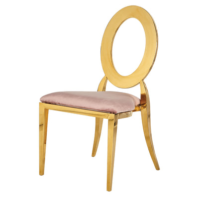 Chaise Louisa Or - Assise Rose Antique