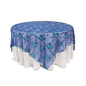 Surnappe Filet Broderies Pailletées - Bleu