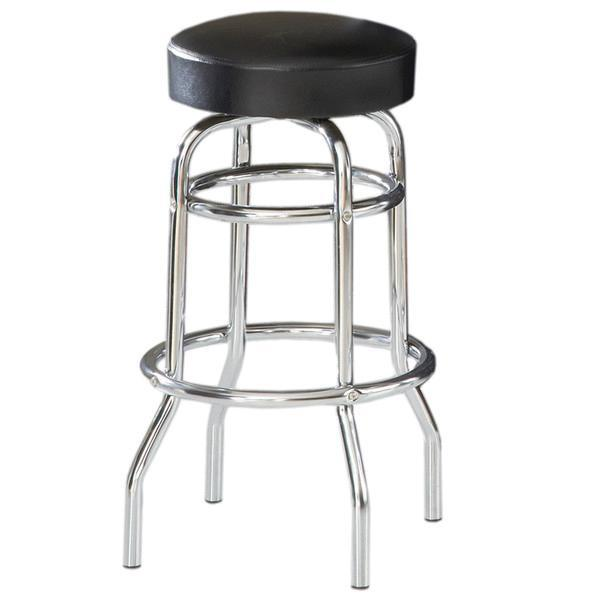Tabouret Chrome Assise Noir