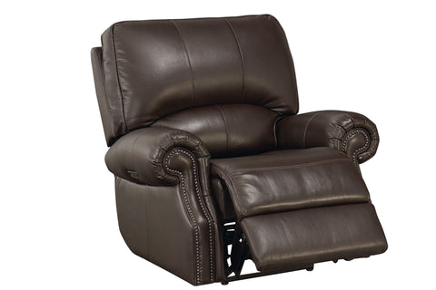 Bassett Rolled Arm Leather Recliner