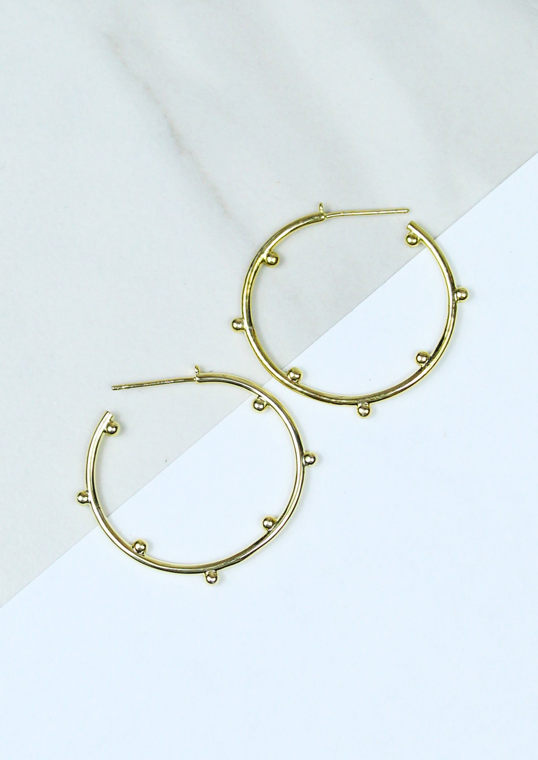 14K Gold Plated Hoop Earring with Round Bead Detail