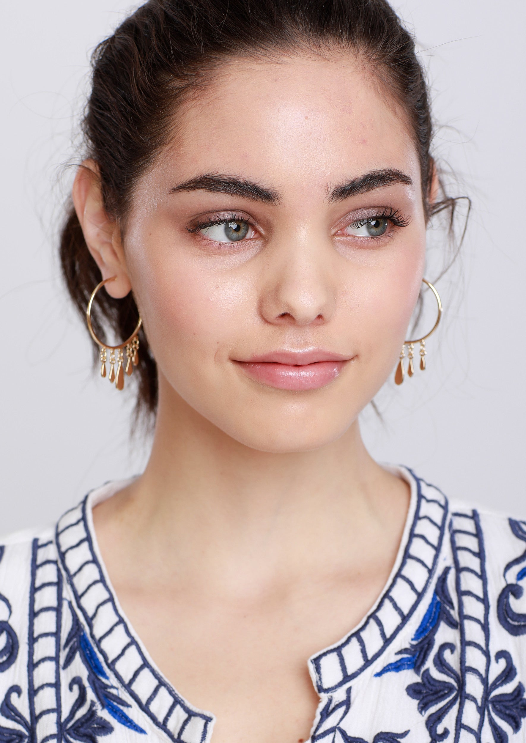 Jules Smith 14K Gold Plated Hoop Earrings with Dangling Charms