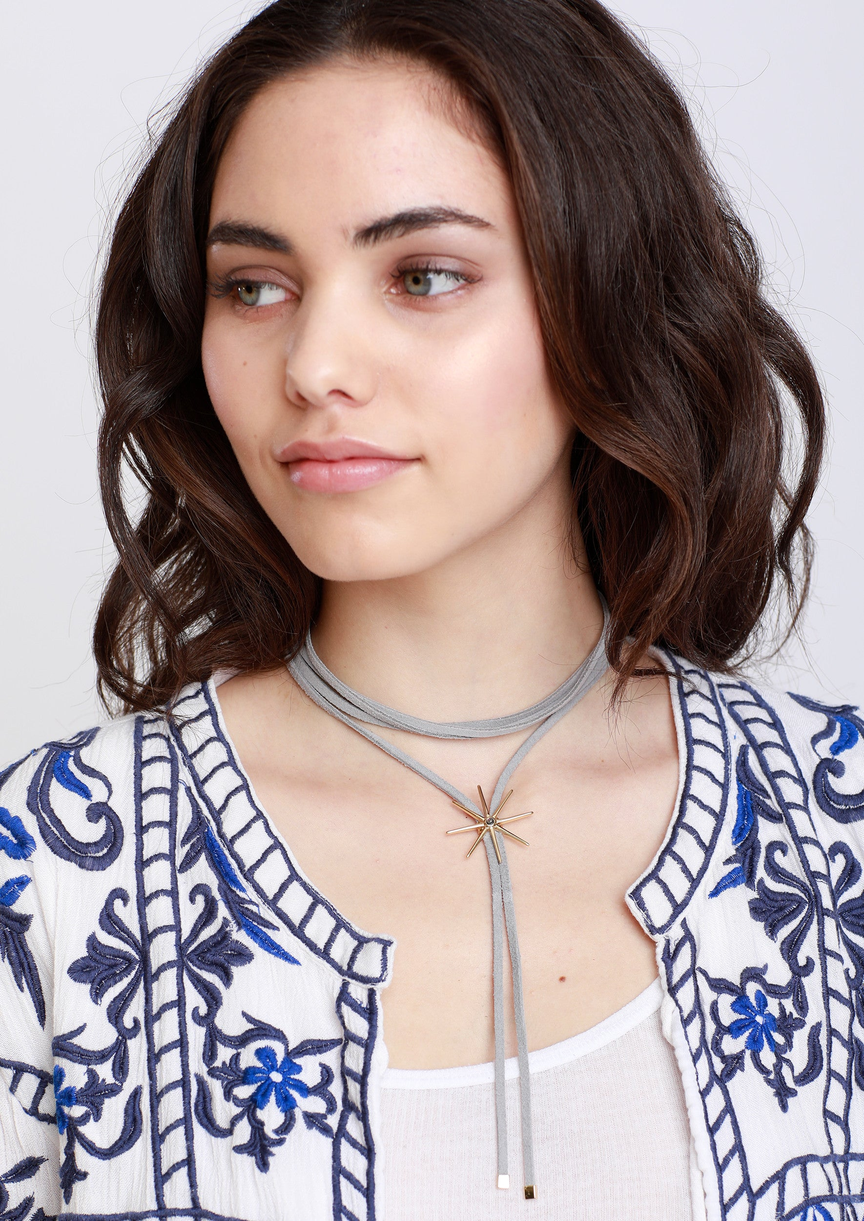 Jules Smith Suede Layered Choker with Adjustable Star Pendant