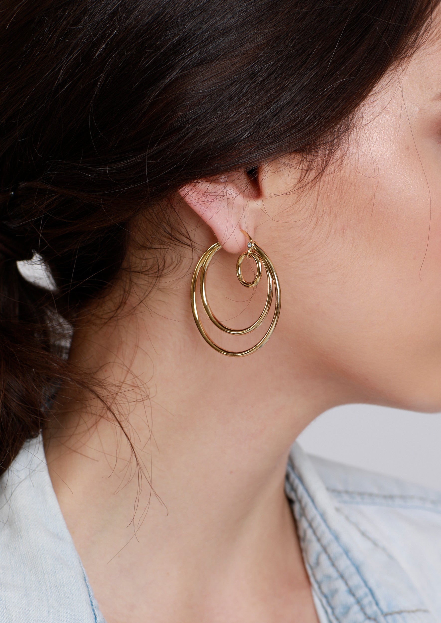 Jules Smith Elegant Bohemian 14K Gold Plated Hoop Earrings
