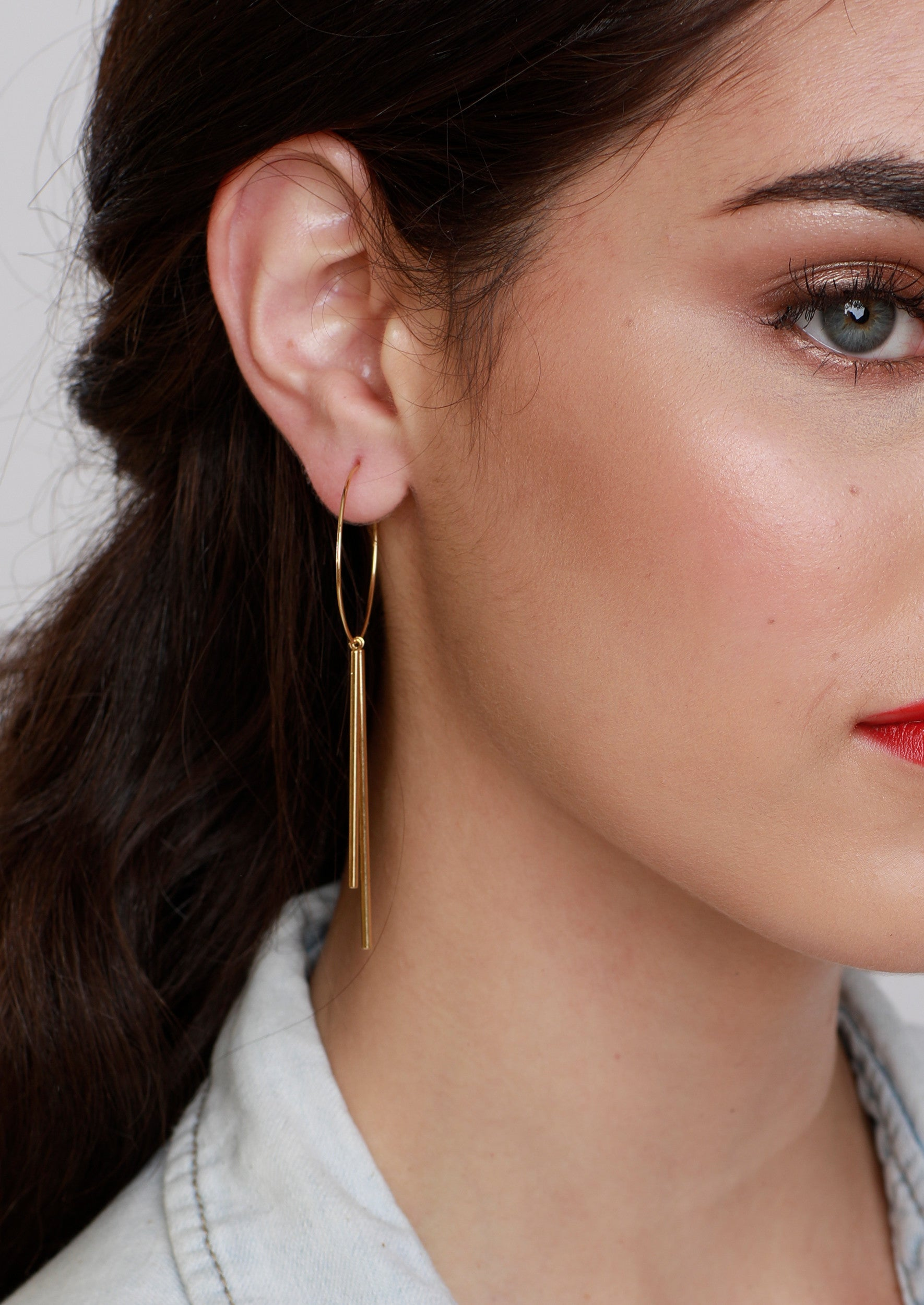 Jules Smith 14K Gold Plated Hoop Earrings with Drop Bars