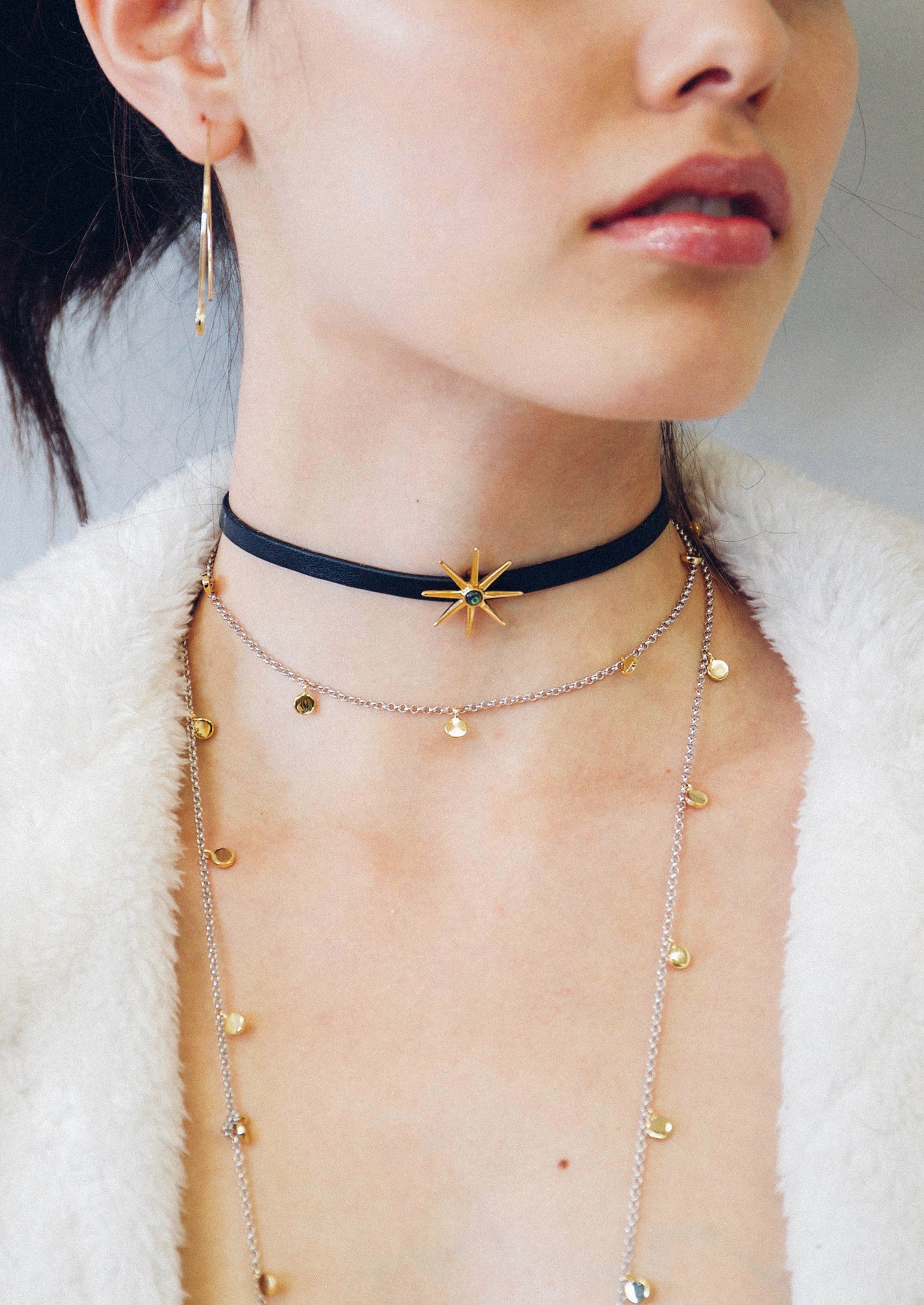 Jules Smith Leather Choker With Star Charm