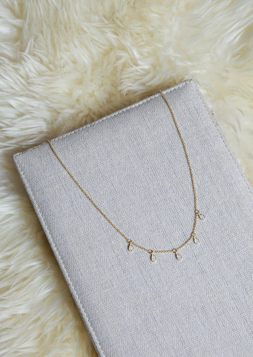Pave Dewdrop Necklace - Jules Smith - 14K Gold Plated - Boho Jewelry