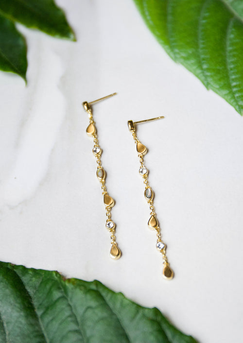 Jules Smith 14K Gold Plated Chain and Stone Drop Earrings