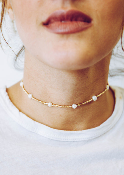 Jules Smith 14K Gold Plated Choker with Pearls Necklace
