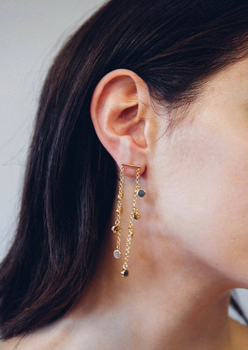Jules Smith 14K Gold Plated Chain Earrings with Gold Discs
