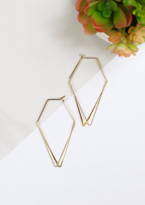 Vertical 14K Gold Plated Geometric Hoop Earrings