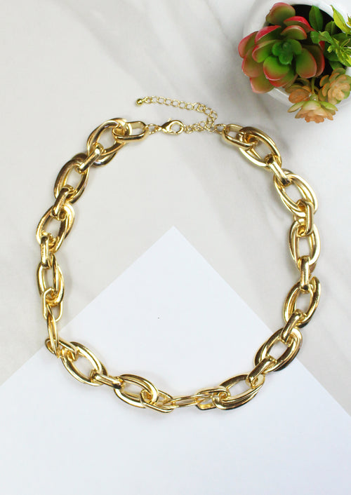 14K Gold Plated Thick Link Chain Necklace by Jules Smith
