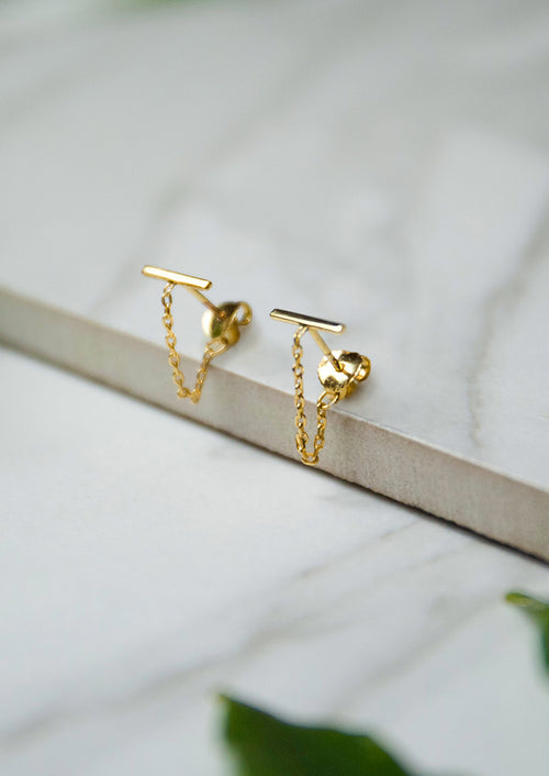 Jules Smith 14K Gold Plated Bar Studs with Chain
