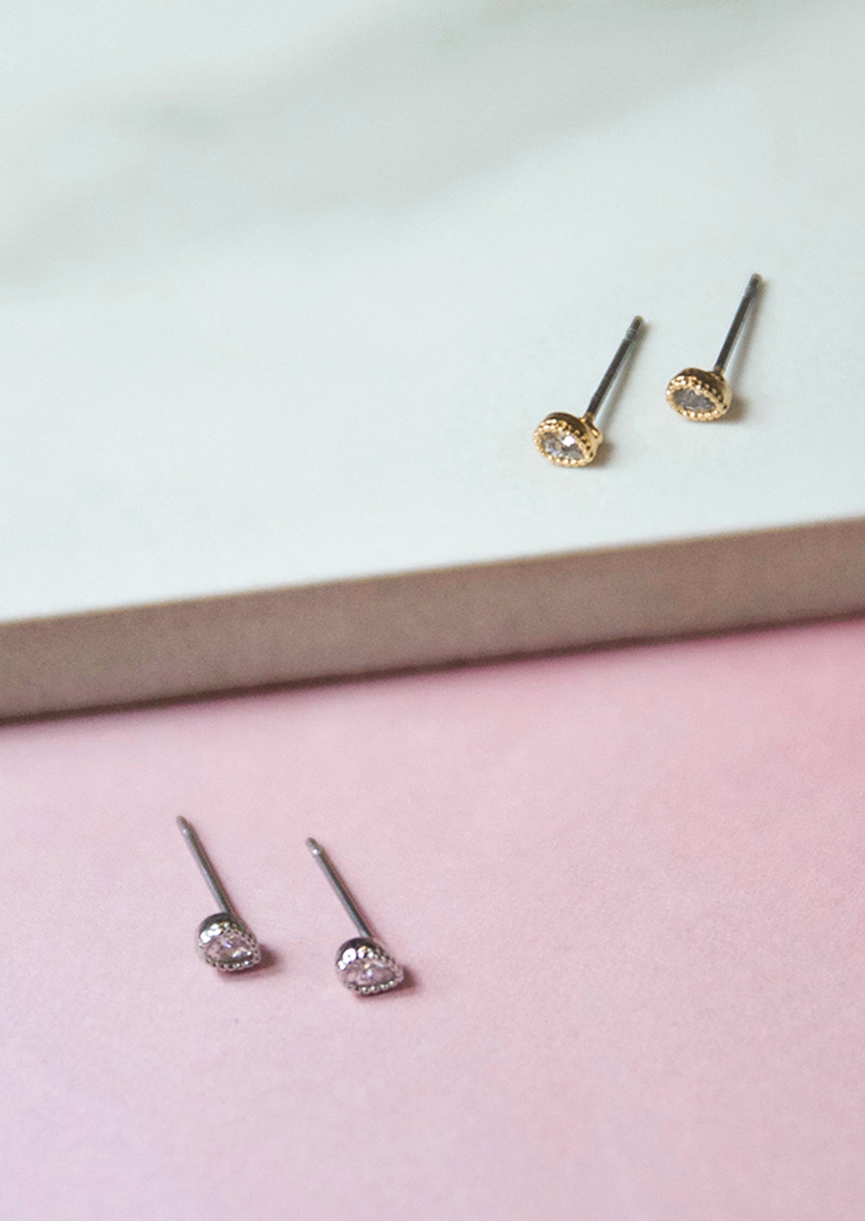 Jules Smith 14K Plated Mini Crystal Teardrop Studs Earrings