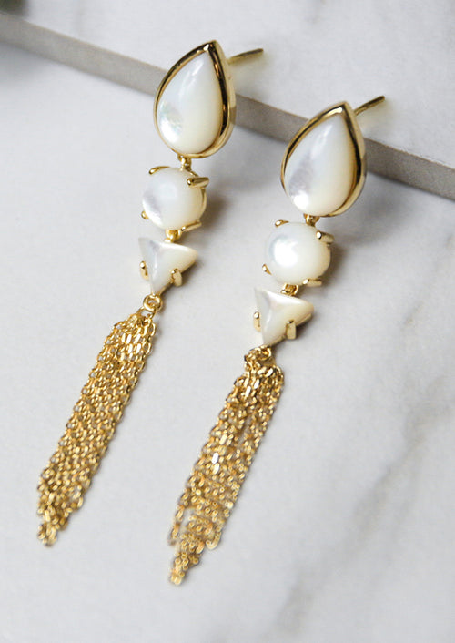 Jules Smith 14K Plated Mother of Pearl Stones Earrings with Chain Tassel