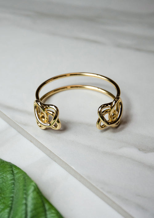 Jules Smith Elegant 14K Plated Open Gold Cuff With Knots at Each End