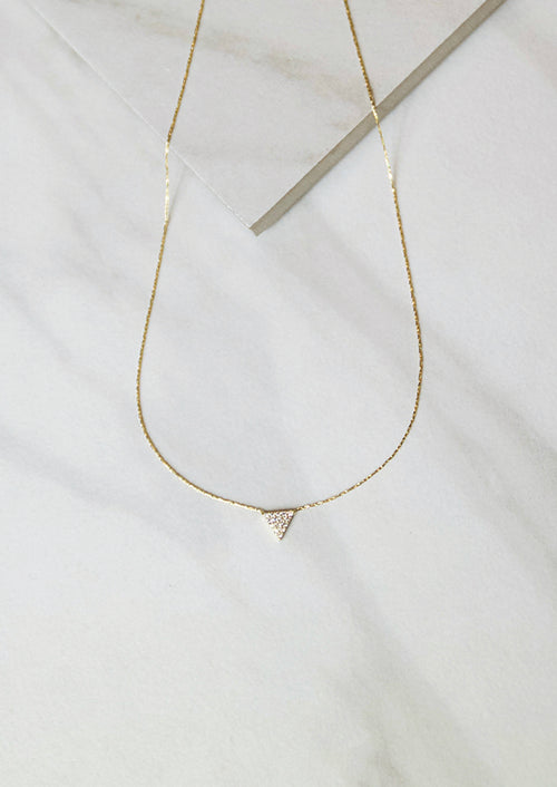 Jules Smith 14K plated Chain Necklace with Pave Triangle