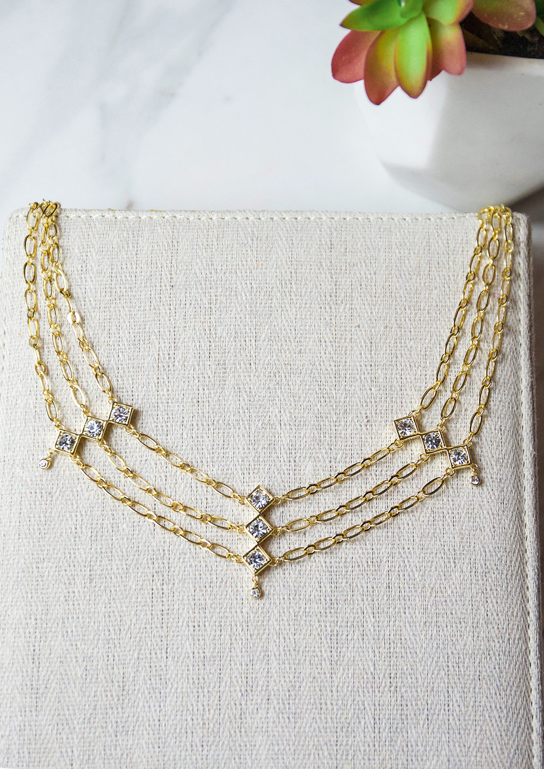 Jules Smith 14K Plated Layered Chain Crystal Choker