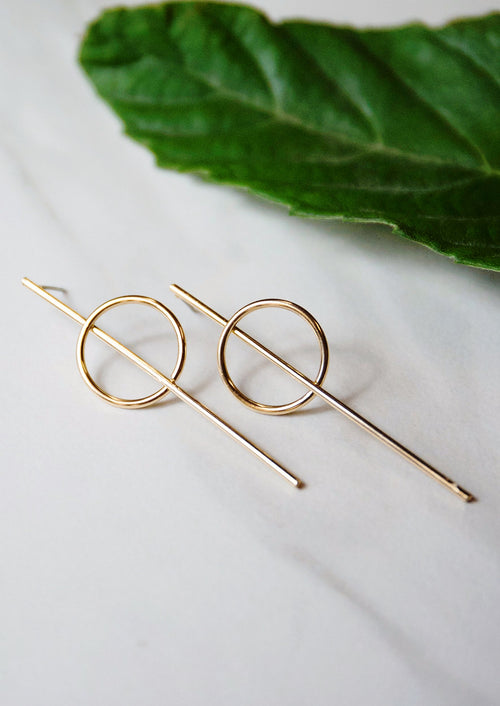 Jules Smith 14K Plated Gold Threader Earrings with circle hoop