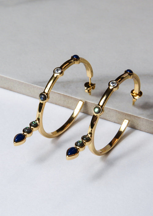 Jules Smith 14K Gold Plated Hoops Earrings With Drop Stones