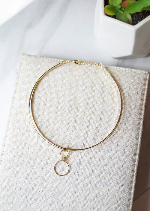 Jules Smith 14K Gold Plated Choker with Circle Hoop Pendant