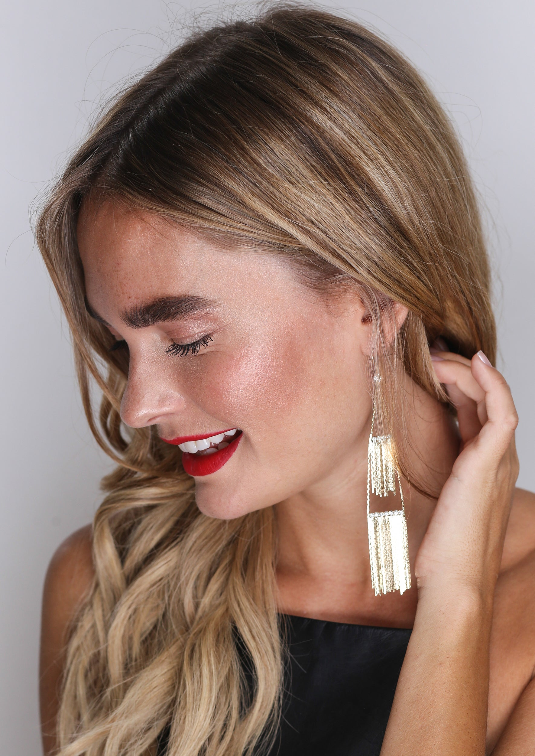Fringe Bling Drop Earrings - Jules Smith - 14K Gold Plated - Boho Jewelry
