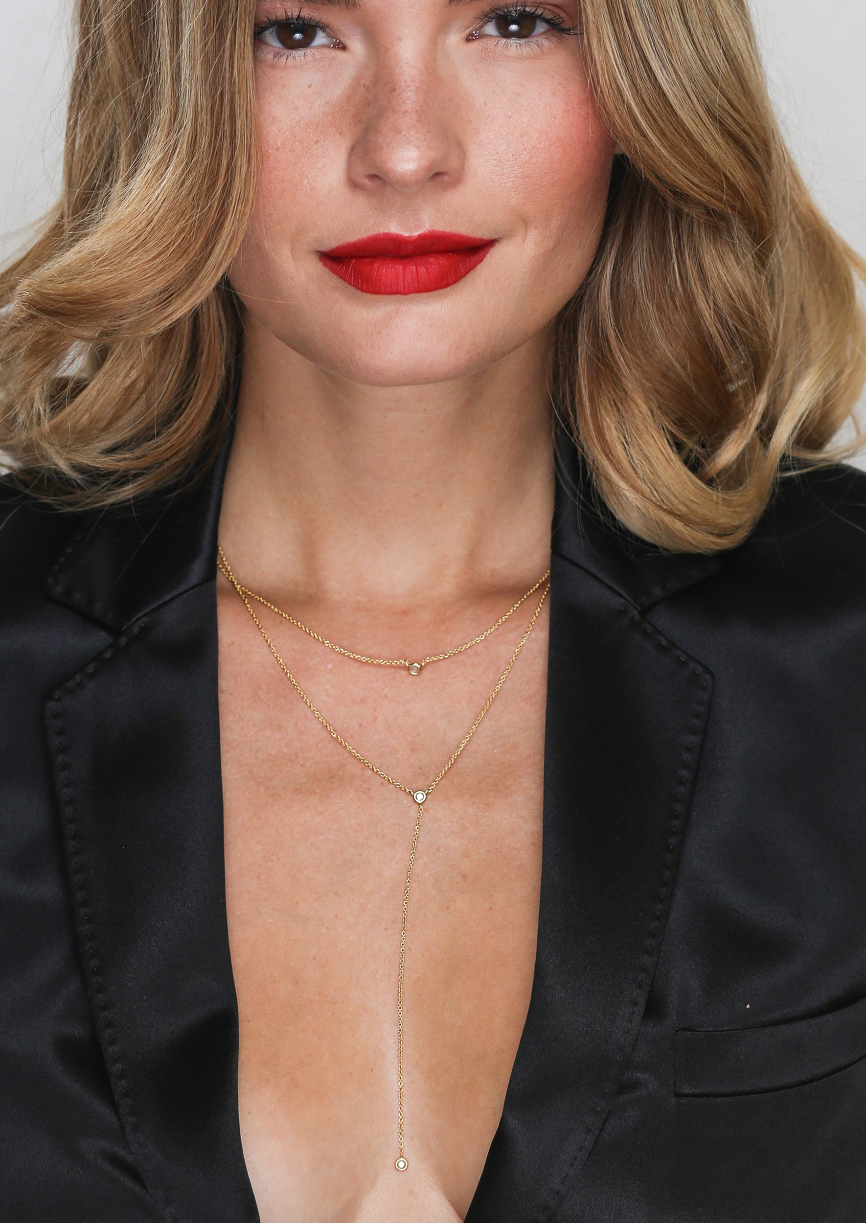 Double Layer Drop Necklace - Jules Smith - 14K Gold Plated - Boho Jewelry