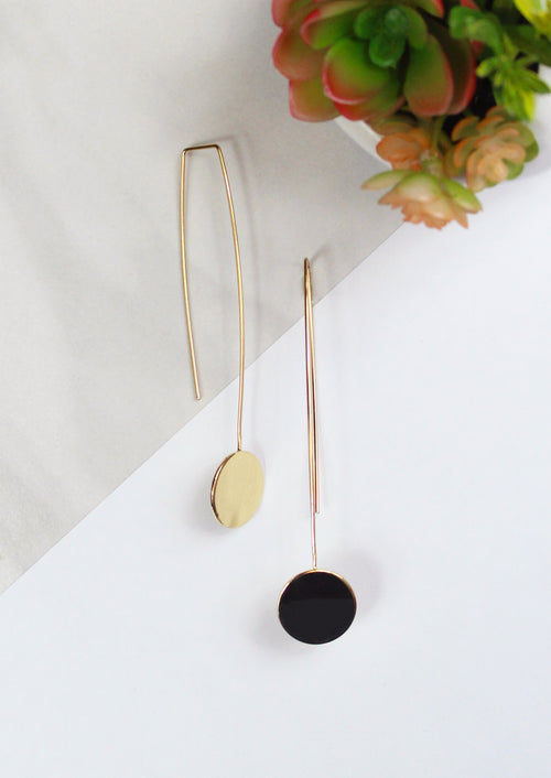 14K Gold Plated Hook Earring With Dropped Circle Plate Detail