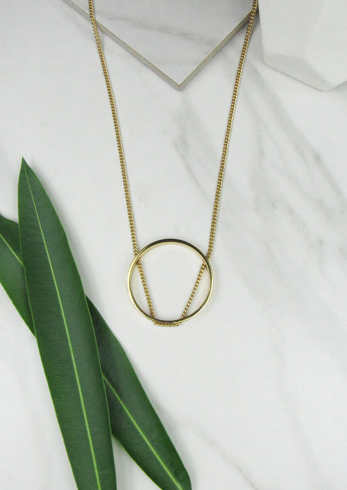 Open Circle Necklace - Jules Smith - 14K Gold Plated - Boho Jewelry