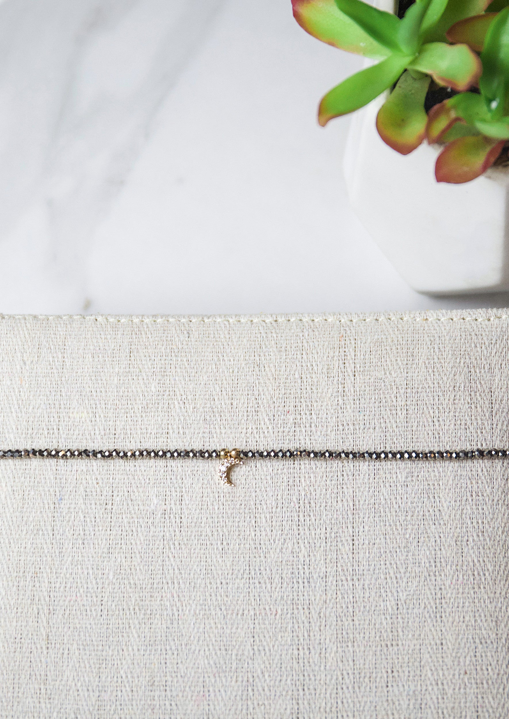 Jules Smith Metallic Beaded Choker with Moon Charm