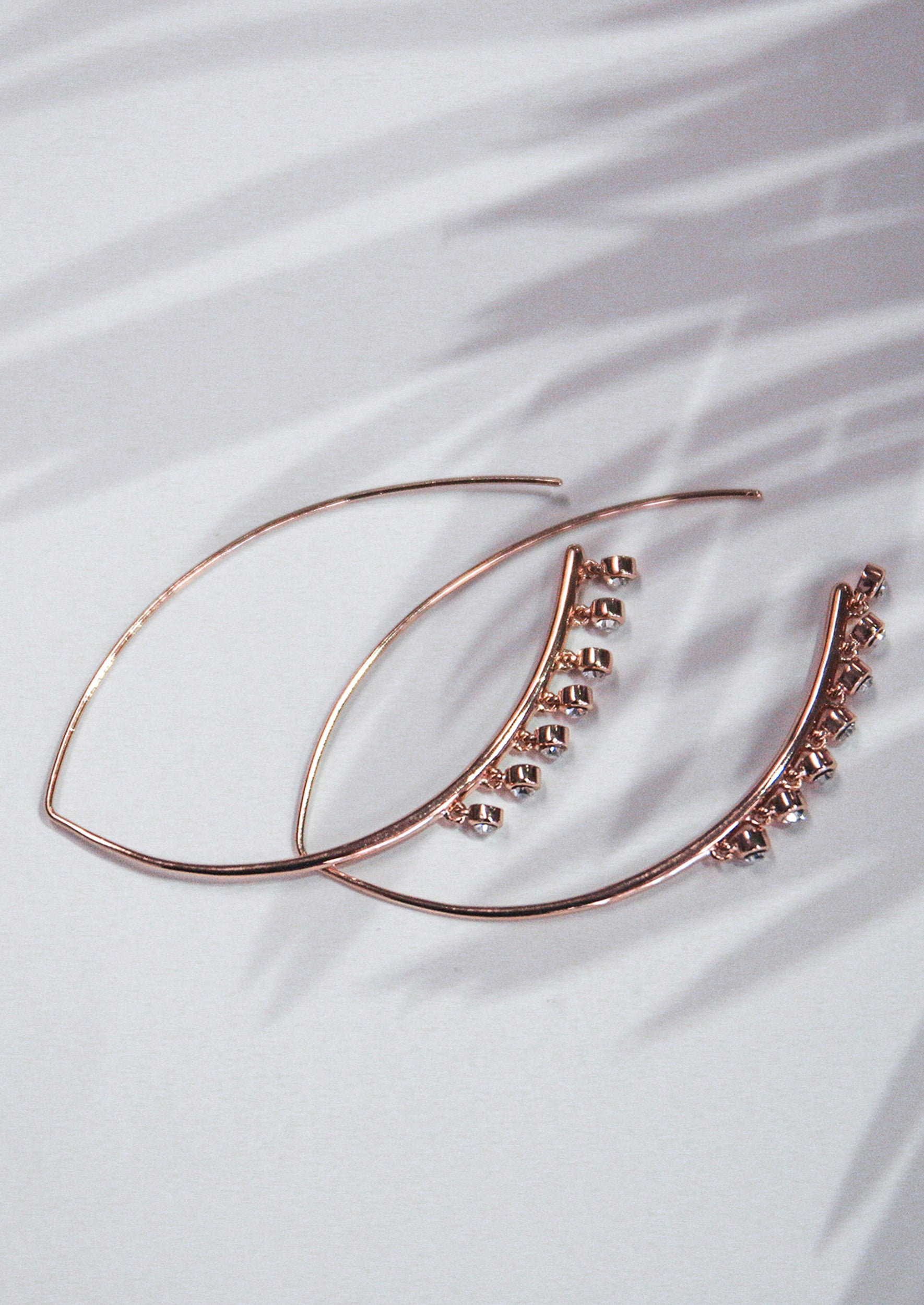 Jules Smith 14K Plated Oval Threader Hoops with Crystals