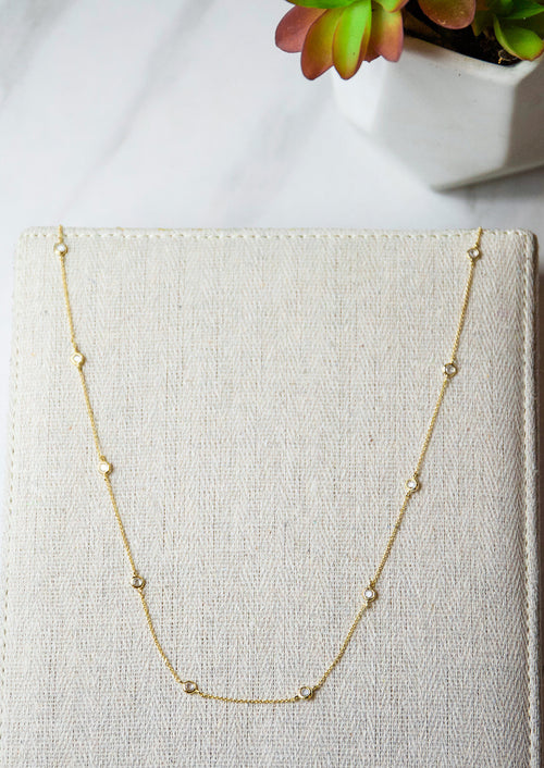 Jules Smith Elegant 14K Gold Plated Chain Necklace with Crystals
