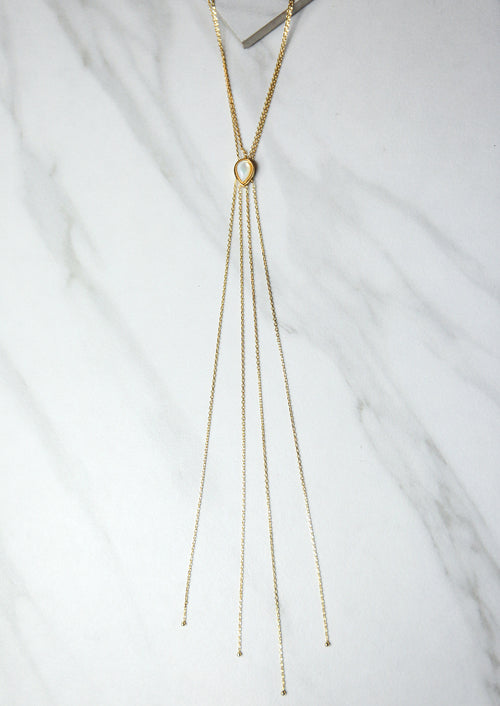 Jules Smith 14K Plated Lariat Gold Necklace with Pearl