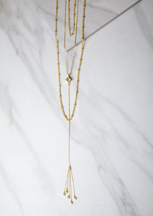 Jules Smith 14K Gold Plated Chain Necklace with Dropped Chain Tassel