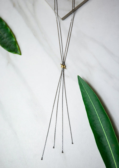 Jules Smith 14K Plated Gunmetal Chain Lariat with Gold Charm