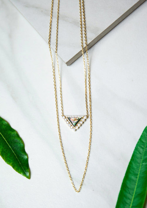 Jules Smith Double Layer 14K Gold Chain Necklace with Triangle Charm