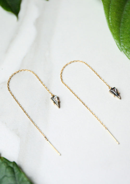 Jules Smith 14K Gold Plated Triangle Threader Chain Drop Earrings