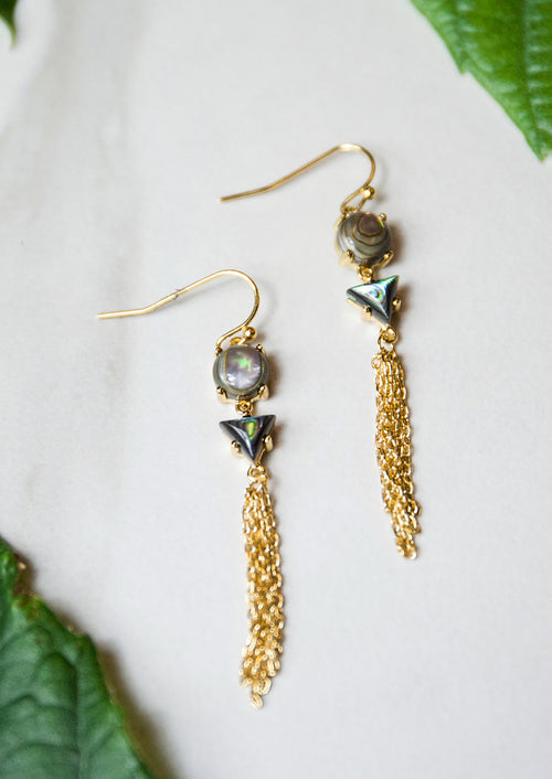 Jules Smith 14K Plated Abalone Stone Drop Earrings with Chain Tassel
