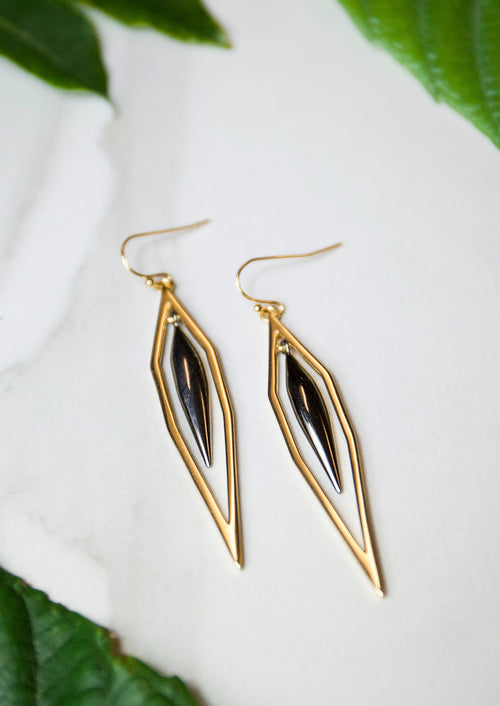 Jules Smith Elegant 14K Gold Plated Geometric Cutout Drop Earrings