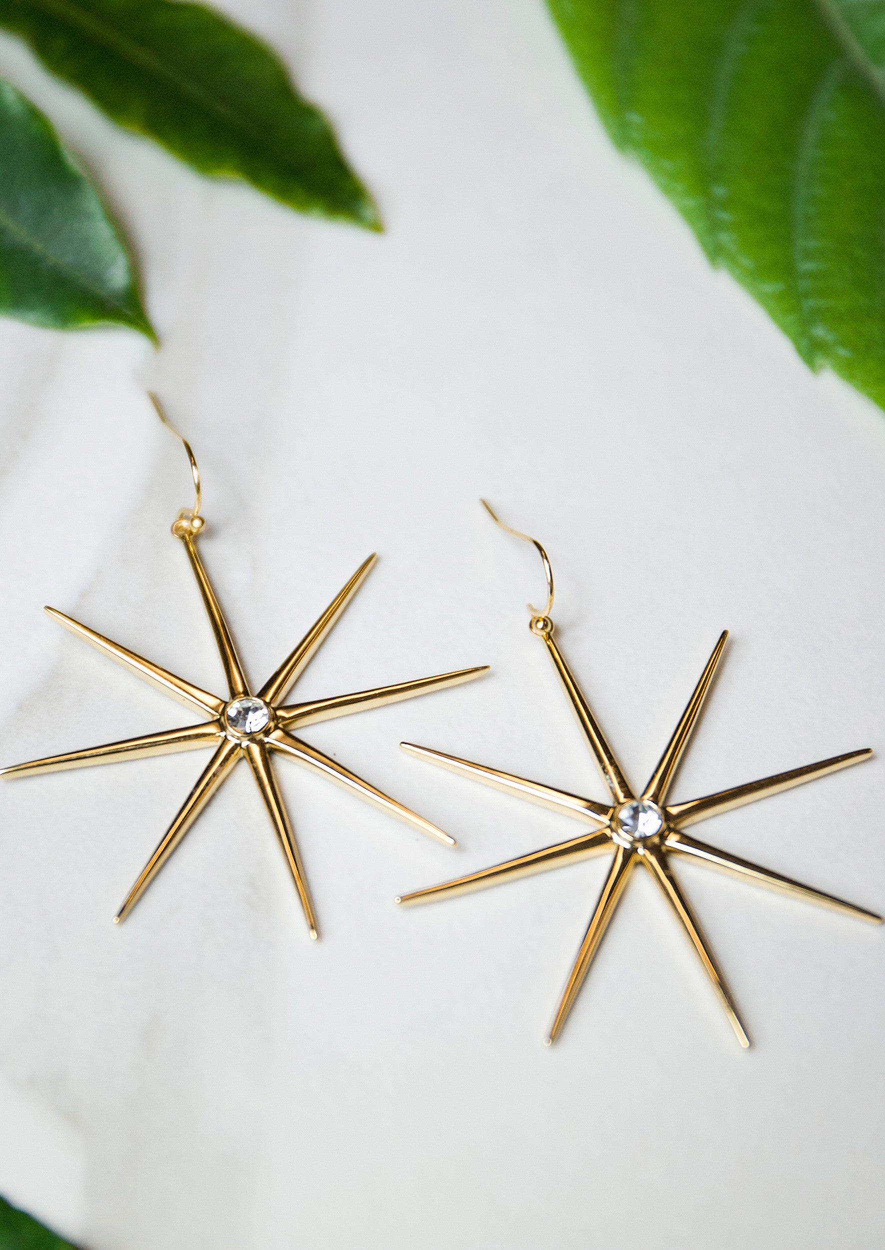 Jules Smith 14K Gold Plated Star Drop Earrings With Crystals