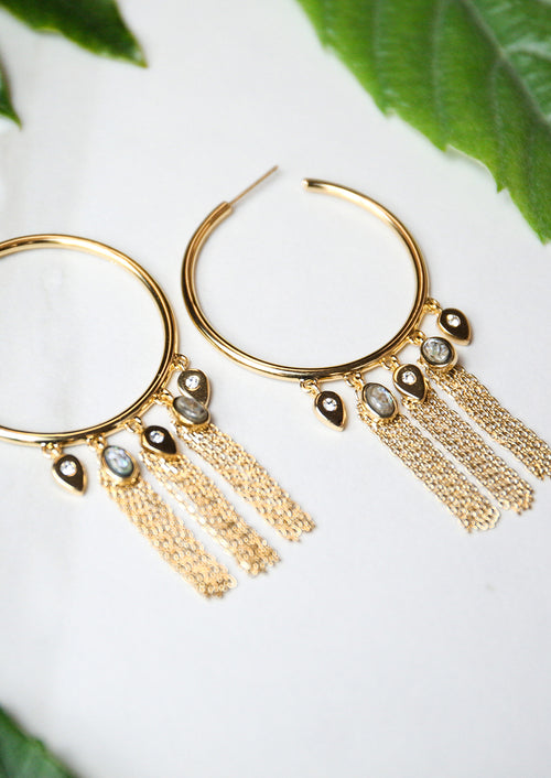 Jules Smith 14K Gold Plated Hoops with Abalone Fringe