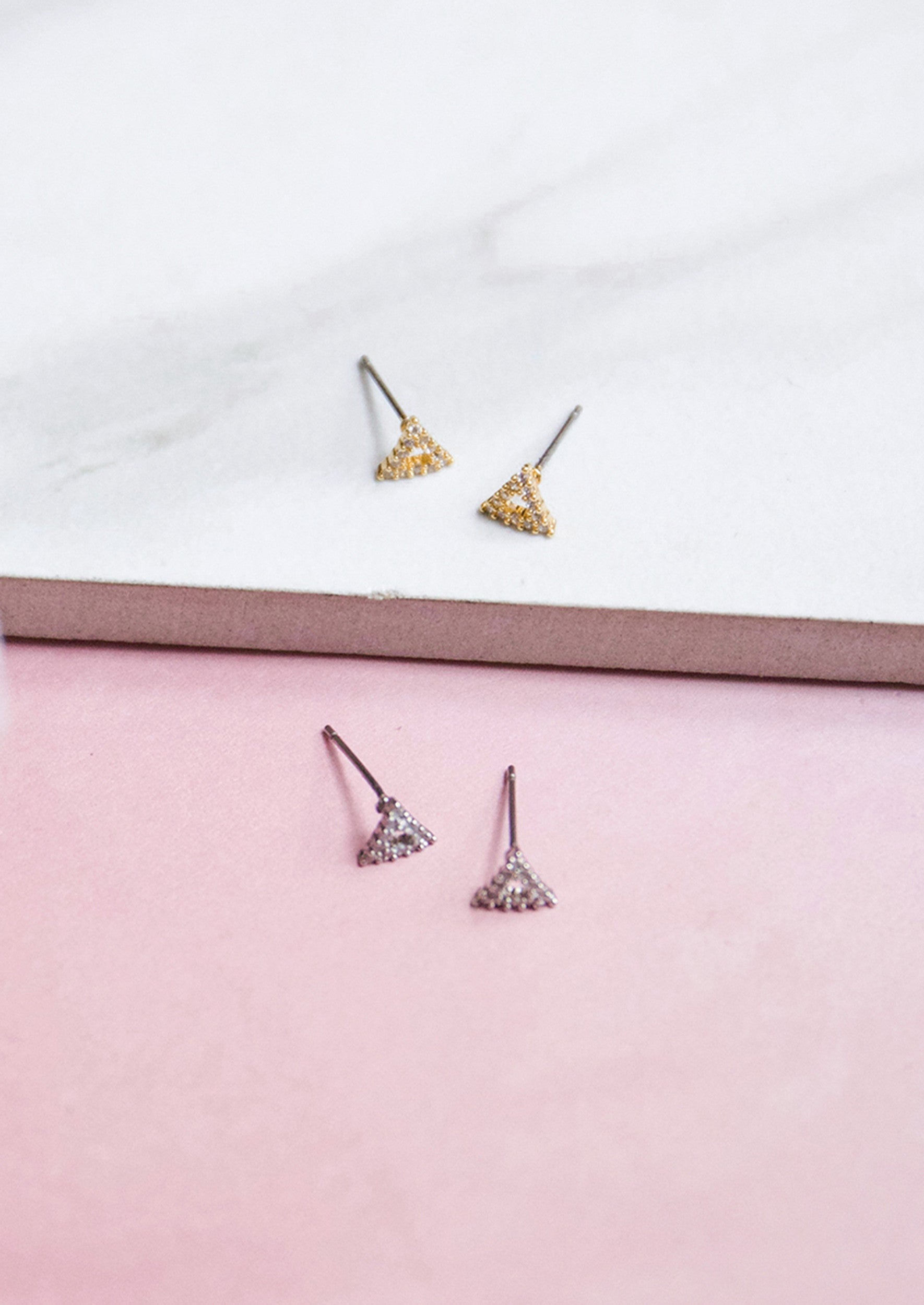 Jules Smith 14K Plated Mini Crystal Triangle Studs Earrings