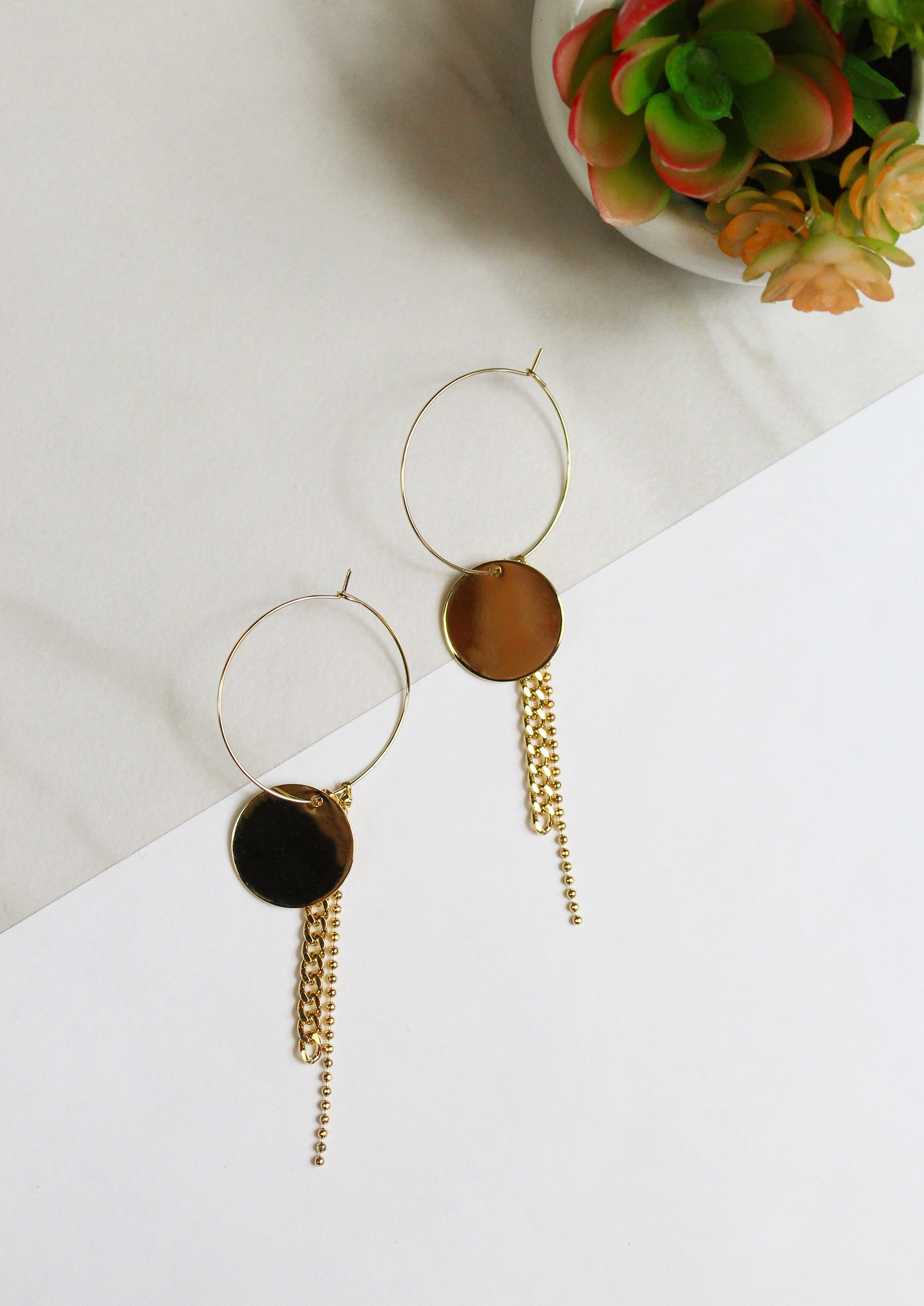 14K gold plated hoop earring featuring fringe chain on round plate