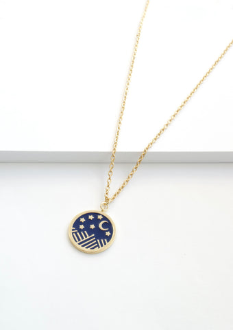 MOON CRYSTAL COIN NECKLACE