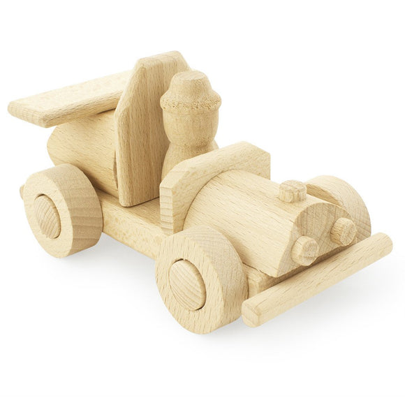 Wooden Race Car With Driver - Brocky