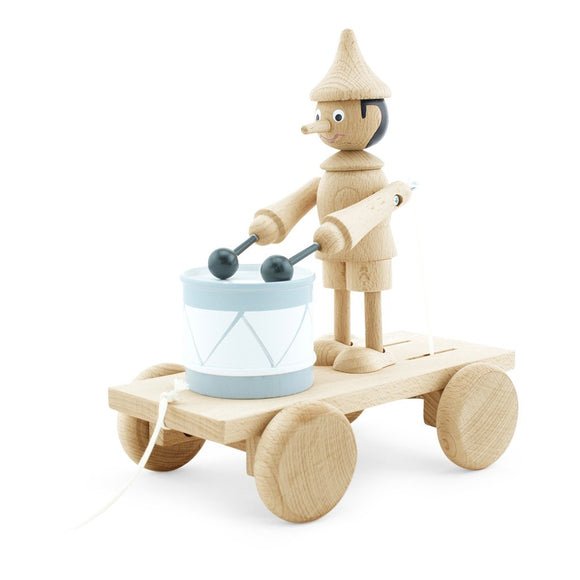Wooden Pull Along Pinocchio Toy With Drum - Natural