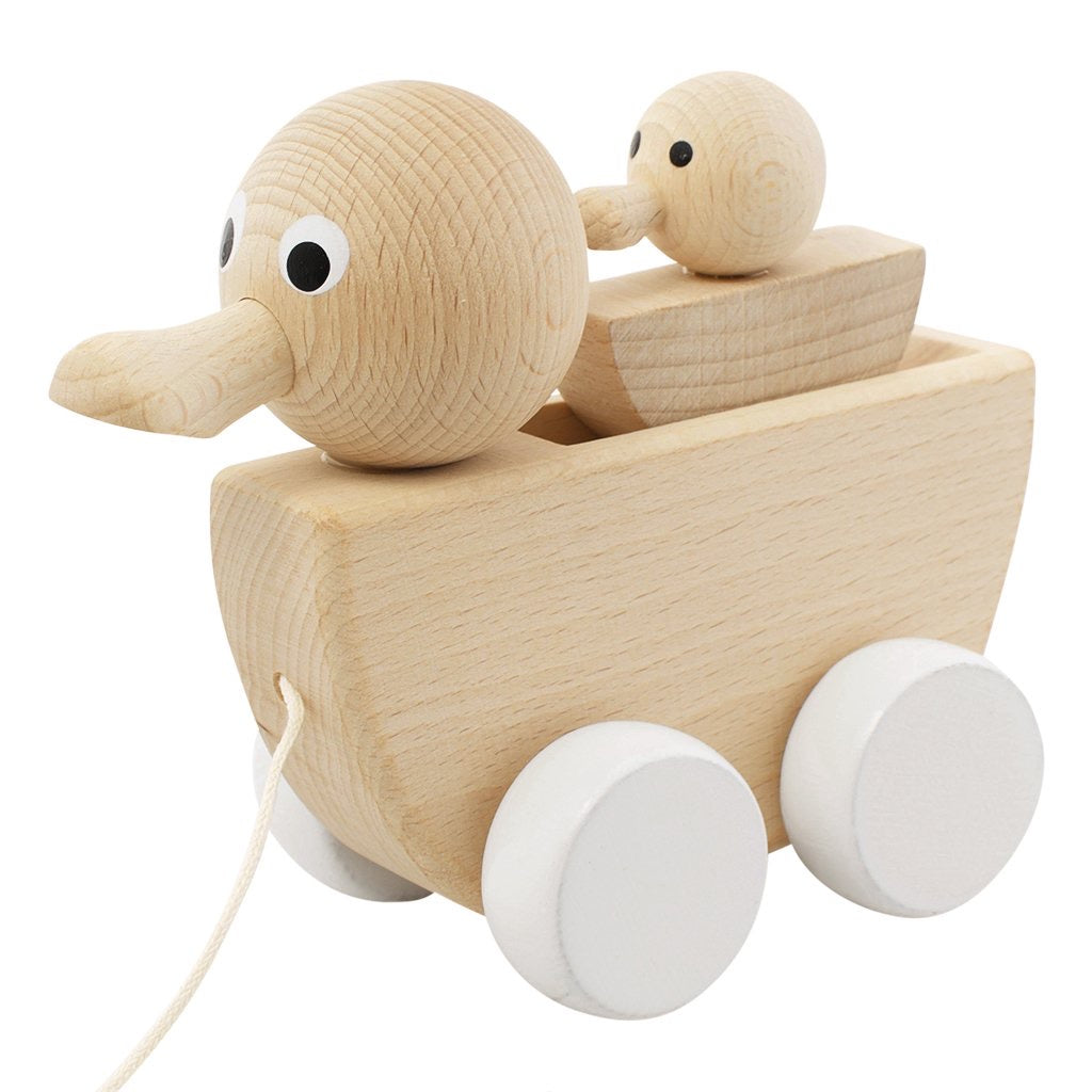Wooden Pull Along Duck With Duckling - Gretel