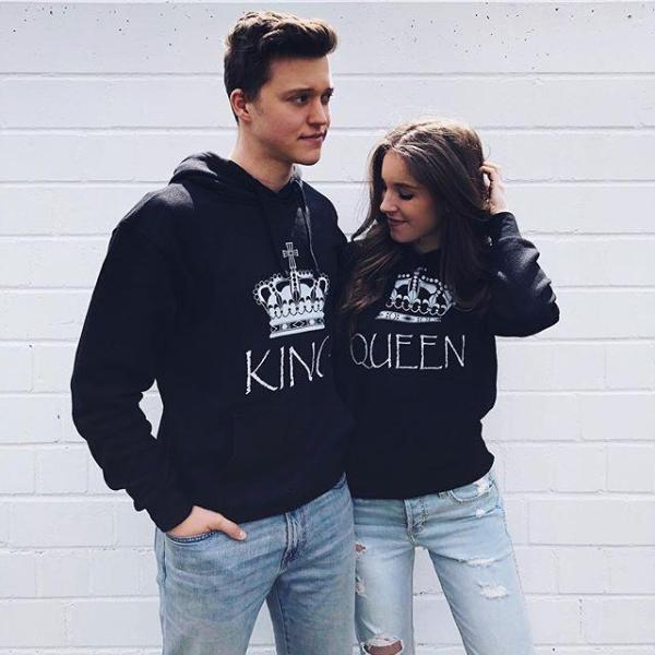 5f7469a267 The Matching Couple Imperial Crown King & Queen Couple Hoodies - Black
