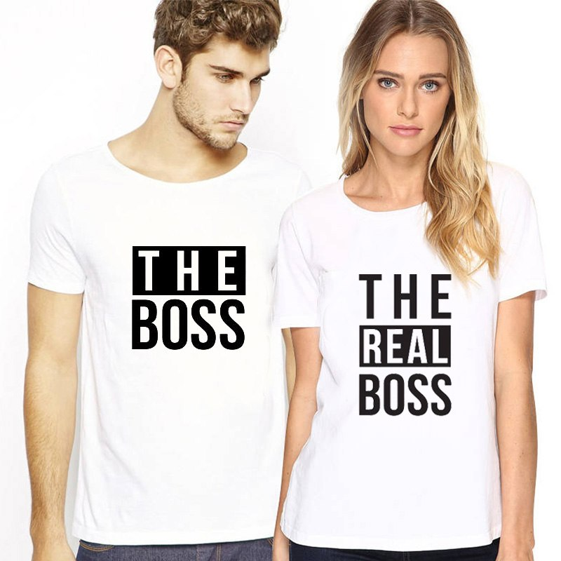 b55d58ad9 The Matching Couple The Boss & The Real Boss Couple Shirts