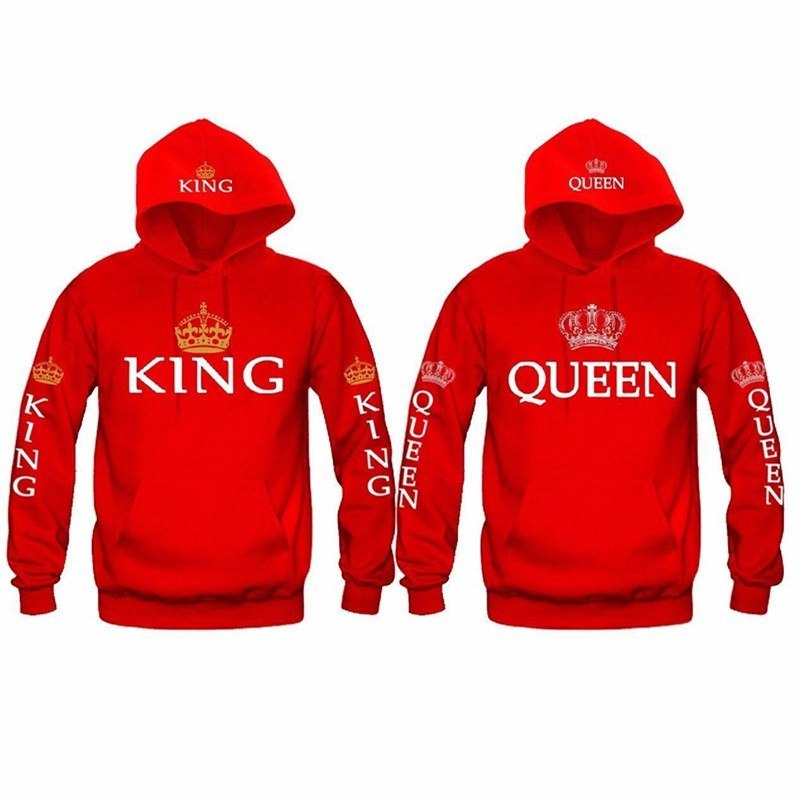 48f03c30c95 Matching Couple Hoodies King   Queen Matching Hoodies - Red - The ...
